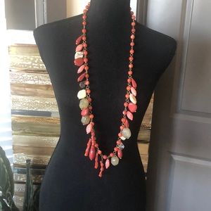 Jewelry - Coral and jade necklace 20""